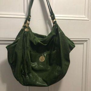 Tory Burch green satchel bag.
